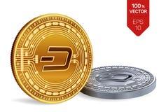 dash pièces de monnaie 3D physiques isométriques Devise de Digital Cryptocurrency Pièces d'or et en argent avec le symbole de tir Image stock