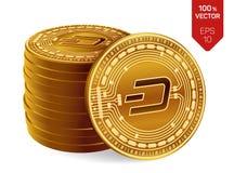 dash pièces de monnaie 3D physiques isométriques Devise de Digital Cryptocurrency Pile de pièces de monnaie d'or avec le symbole  Image stock