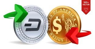 Dash to dollar currency exchange. Dash. Dollar coin. Cryptocurrency. Golden and silver coins with Dash and Dollar symbol with gree. N and red arrows. 3D Stock Images