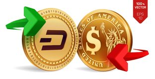 Dash to dollar currency exchange. Dash. Dollar coin. Cryptocurrency. Golden coins with Dash and Dollar symbol with green and red a. Rrows. 3D isometric Physical Stock Photos