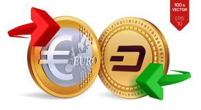 Dash to Euro currency exchange. Dash. Euro coin. Cryptocurrency. Golden coins with Dash and Euro symbol with green and red arrows. 3D isometric Physical coins Royalty Free Illustration