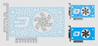 Dash Video GPU Card Vector Mesh Carcass Model and Triangle Mosaic Icon. Mesh Dash video GPU card model with triangle mosaic icon. Wire frame triangular mesh of stock illustration