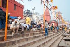 Dashashwamedh Ghat em Varanasi no Ganges River Fotos de Stock