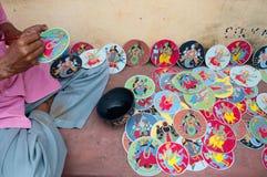 Dashavatara kort, konstverk, bishnupur, Indien Fotografering för Bildbyråer