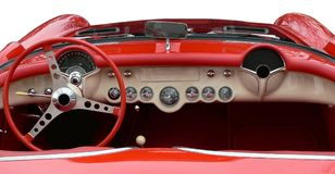 Dashboard. Of vintage red sportscar royalty free stock photography