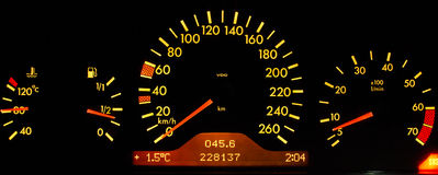 Dashboard. Yellow dashboard on black background Stock Photos