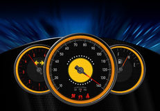 Dashboard. Image from an illustration of an automotive dashboard with speedometer, fuel meter with background of textured material and motion illustration. The Royalty Free Stock Image