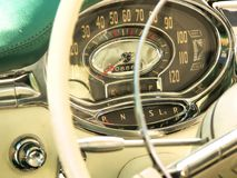 Dashboard. In american classic car stock images