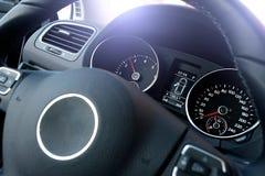 Dashboard. Dark colored dashboard of cheap modern car stock photo