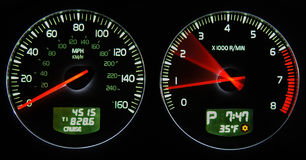 Dashboard. With speedometer and rpm Stock Images