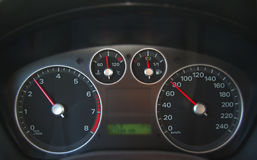 Dashboard. Picture shows optimal speed for driving Stock Photos