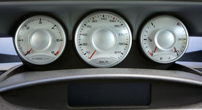 Dashboard. Of a car with three counters Stock Photos