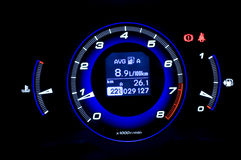 Dashboard. Car dashboard, red blue neon lights royalty free stock photo