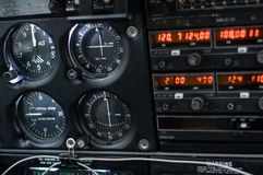 Dashboard in airplane cabin royalty free stock photography