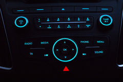 Dashboard with audio equipment in cabin of the modern new car Royalty Free Stock Photography