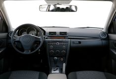 Dashboard of a car. Modern car dashboard with isolated front window Royalty Free Stock Photos