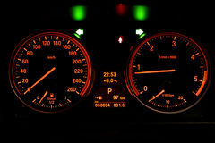Dashboard of a car. Digital dashboard of a new car, first drive, night view Royalty Free Stock Photos