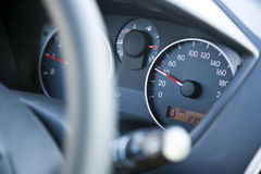Within Speed Limit Car Dashboard. The dashboard of car going 40, within speed limits. Very shallow depth of field Royalty Free Stock Image