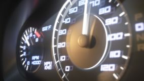 Dashboard in the car. Speedometer and moving,featuring lights leaks. Close up view. 3d rendering, animation.