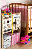 Dashboard for children. Wooden gaming board develops bizibord. Royalty Free Stock Photo