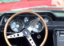 Dashboard of classic American car, Ford Mustang Stock Photo