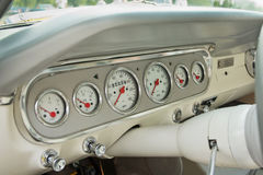 Dashboard of a classic car Stock Image