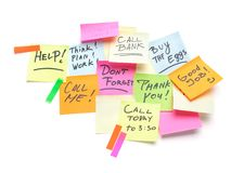 Dashboard with a colored sticky notes on it Royalty Free Stock Photography