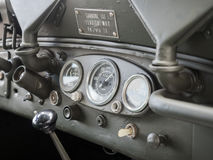 Dashboard detail of an old military jeep. Stock Photography