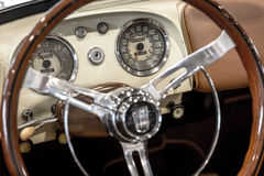 Dashboard detail of a vintage car. Stock Photo