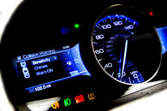 Dashboard and digital display - mileage, fuel consumption, speed. Dashboard and digital display of a modern car, mileage, fuel consumption, speedometer. New and Royalty Free Stock Photography