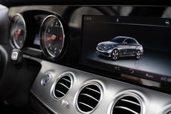 Dashboard Display Of Mersedes Benz E class stock photography