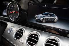 Dashboard Display Of Mersedes Benz E class royalty free stock photo