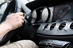 Dashboard Display Of Mersedes Benz E class royalty free stock images