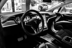The dashboard of a full-sized, all-electric, luxury, crossover SUV Tesla Model X. BERLIN - NOVEMBER 09, 2016: Showroom. The dashboard of a full-sized, all Royalty Free Stock Image