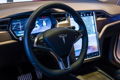The dashboard of a full-sized, all-electric, luxury, crossover SUV Tesla Model X. BERLIN - NOVEMBER 09, 2016: Showroom. The dashboard of a full-sized, all Stock Photography