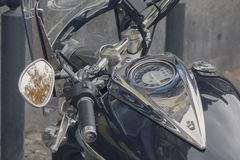 Dashboard and gas tank of a classic motorcycle close-up Stock Images