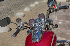 Dashboard and gas tank of a classic motorcycle close-up Royalty Free Stock Photos