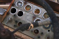Dashboard. Gushes steering wheel broken abandoned royalty free stock images