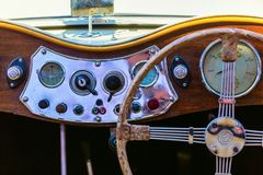 Dashboard of a historical MG car royalty free stock images
