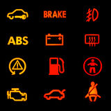 Dashboard icons. On black background Royalty Free Stock Image