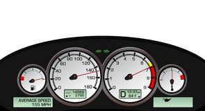 Dashboard Illustration. Complete dashboard illustration with gauges isolated on white background Royalty Free Stock Photography