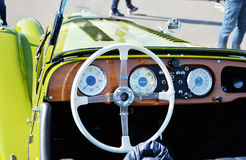 Dashboard instrument panel of a vintage Morgan Plus 4 roadster classic Royalty Free Stock Photography