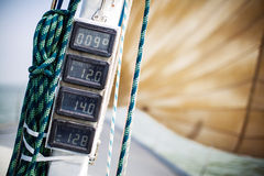 Dashboard instruments on a yacht. Royalty Free Stock Image