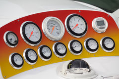 Dashboard of a luxury yacht closeup Stock Images