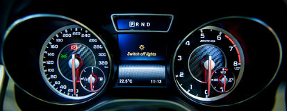 Dashboard of Mercedes-Benz CLA45AMG at the Singapore Motorshow 2015 Royalty Free Stock Photos