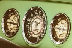 Dashboard meters of a vintage fifties car Royalty Free Stock Photos