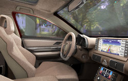 Dashboard of modern brand new car with windows 3d render Stock Photos