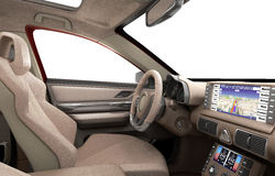 Dashboard of modern brand new car with windows 3d render Royalty Free Stock Images