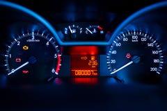 Dashboard. Modern car illuminated dashboard closeup Stock Images