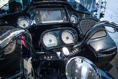 The dashboard of a motorcycle Harley-Davidson Road Glide, 2016. STUTTGART, GERMANY - MARCH 17, 2016: The dashboard of a motorcycle Harley-Davidson Road Glide Royalty Free Stock Photography